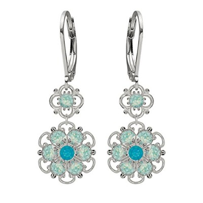 Lucia Costin Silver, Mint Blue, Blue Crystal Earrings with Dots