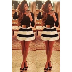 Fashion Women Long Sleeve Striped Gown Mini Casual Dress Party dress without belt