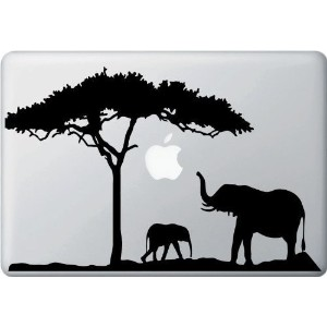 (MacBook Air / Pro 13 / 14 / 15 インチ マックブック ステッカー シール) Mom Elephant With Baby Cartoon Character...