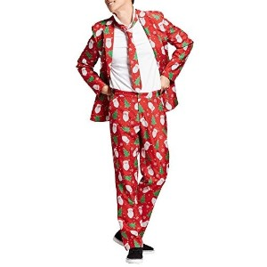 SuitMeister Men s Red Santa Ugly Christmas Suit- Jacket Pants and Tie- (Size:Medium (38-40))