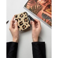 ASOS  レディース バッグ ポーチ  送料無料 Leopard Leather and Pony Style Coin Purse With Tassel
