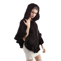 Fashion Women s Real Mink Fur Knit Knitted Cape Collar Stole Poncho Hooded Coat #WQFPM0002