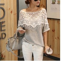 Fashion Hollow Out Lace Women Crochet Cape Collar Batwing Sleeve T-shirt (One Size)