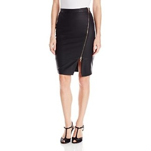 XOXO Juniors Faux Leather Asymmetrical Zip Pencil Skirt  Black  X-Large