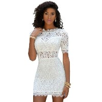 Crochet Cut Sexy Plunging Back Bodycon Dress