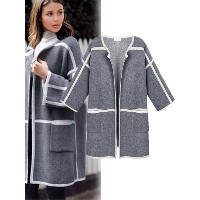 Long Sleeves Contrast Color Open Front Cardigan