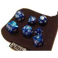 【Blue Marble Polyhedral Dice Set   7 Piece   PRISTINE Edition   FREE Carrying Bag   Hand Checked...