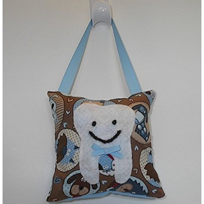 Tooth Fairy Pillow Keepsake for Boy or Girl Light Blue and Brown Puppy Dog Print