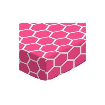 SheetWorld Fitted Cradle Sheet - Hot Pink Honeycomb - Made In USA by sheetworld