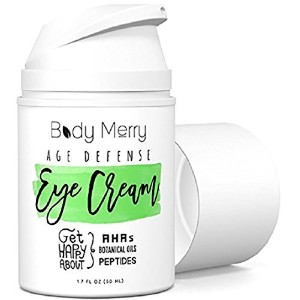 Body Merry Best Eye Cream For Dark Circles and Wrinkles - Reduces Puffiness, Crow's Feet, Fine Lines and Bags- Natural & Organic - Vitamin C, Jojoba Oil, Hyaluronic Acid- Body Merry - 1 oz