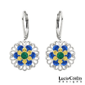 Victorian Style Flower Earrings by Lucia Costin Made of .925 Sterling Silver with 24K Yellow Gold...