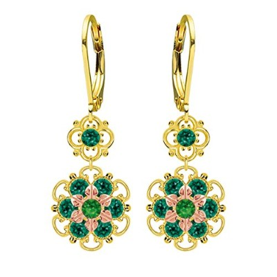 Lucia Costin .925 Silver, Green Swarovski Crystal Earrings with Flowers