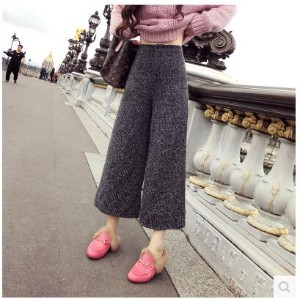 Europe and the United States wild ash gray variegated waist wide leg pants pants