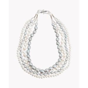 【Theory】Kong qi Pearl Necklace ホワイトxグレーの淡水パールを連ねた四連ネックレス。 その他 大人 セオリー