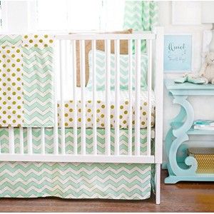 New Arrivals 2 Piece Crib Bed Set, Gold Rush in Mist by New Arrivals