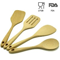 木製調理用品4ピース、木材ツールとガジェットセット、4 Large Spatula and Spoons for Nonstick Cookware – Eco Friendly Utensils