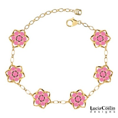 14K Yellow and Pink Gold Plated over .925 Sterling Silver Star Shaped Flower Bracelet by Lucia...