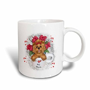 3drose Charlyn Woodruff – CW Designs犬アート – Cute Red Roses I Love My Mom Yorkieヨークシャー・テリア犬アート –...