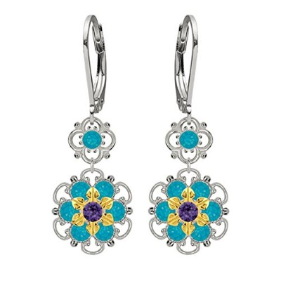 Lucia Costin Silver, Blue, Violet Crystal Earrings with Flowers