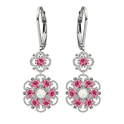 Lucia Costin Silver, White, Pink Crystal Earrings with Twisted Accents