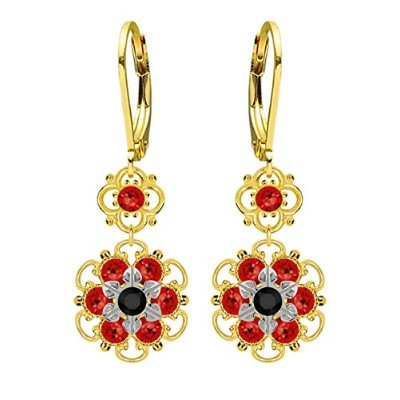 Lucia Costin Silver, Black, Red Swarovski Crystal Earrings with Dots
