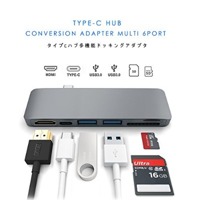 MEOW MARKET 6ポート 6in1 USBタイプC to HDMI USB3.0 MicroSD/TF SD/MMC Type-C Charging マルチハブ HUB USB-C 高速充電...