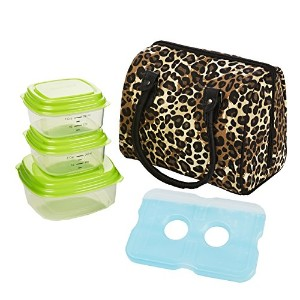 Fit & Fresh Jackson Insulated Lunch Bag Kit with Reusable Containers Natural Leopard. by Fit & Fresh