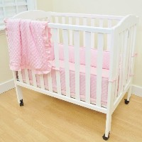 TL Care Heavenly Soft Minky Dot 3 Piece Mini Crib Set, Pink by TL Care