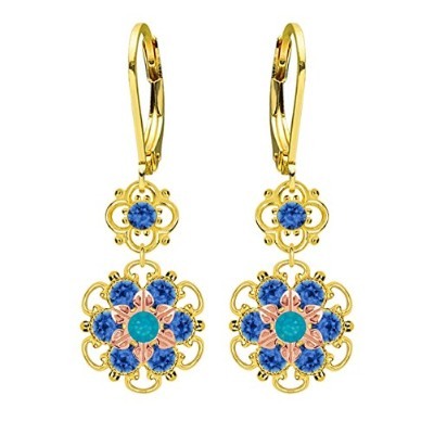 Lucia Costin Silver, Blue Swarovski Crystal Earrings with Cute Flowers