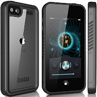 Temdan iPod touch5 防水ケース iPod touch6 防水ケース(iPod Touch 第6世代、第5世代) フルプロテクションカバー防水ケース 防塵 耐衝撃 (黑)