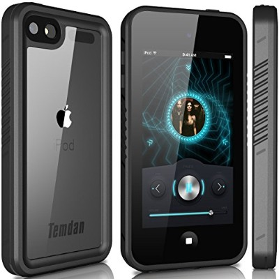 Temdan iPod touch5 防水ケース  iPod touch6 防水ケース(iPod Touch 第6世代、第5世代) フルプロテクションカバー防水ケース 防塵 耐衝撃 (黒)