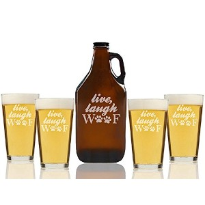 """Chloe and Madison """" Live Laugh Woofガラス""""ビールAmber Growler & Pint Glasses、5のセット"""