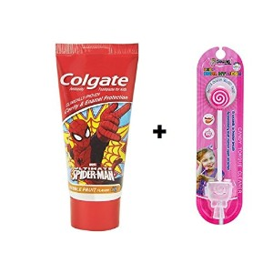 Colgate Kids Spiderman Toothpaste - 80 g + Kids lollipop Tongue Cleaner (Combo Pack )
