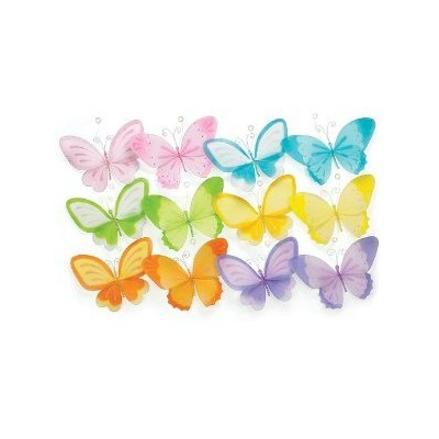 Set Of 12 Assorted Hanging Butterflies 10 High Accented With Gems & Glitter Beautiful Decor For...