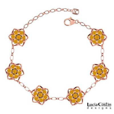 Fabulous Bracelet Designed by Lucia Costin with Twisted Lines and Yellow Swarovski Crystals,...