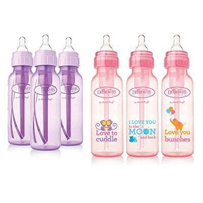 Dr. Brown's Baby Bottles Girls - 3 (8 oz) Lavender and 3 (8 oz) Pink bottles with new print by Dr....