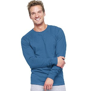 Hanes 5186 Adult Beefy T Long Sleeve T-Shirt Size Small, Denim Blue
