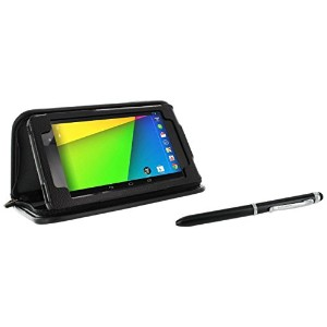 rooCASE Executive Portfolio Leather Case Cover with Stylus for Google Nexus 7 FHD - Black - 並行輸入品