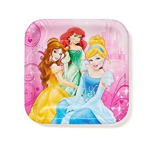 Disney Princess 9 in Square Plate、 Pack of 8、 Party Supplies [並行輸入品]