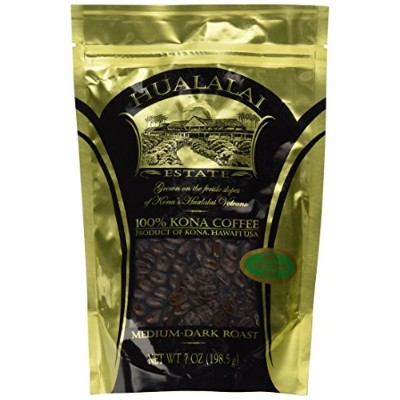Hualalai Estate PEABERRY- 100% PREMIUM Kona Coffee - Medium-Dark Roast 7oz (WHOLE BEAN) by Hualalai...