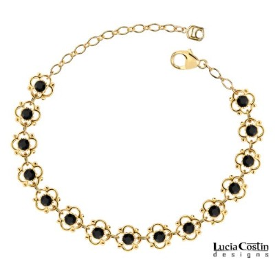Splendid Flower Bracelet by Lucia Costin with 4 Petal Flowers Surrounded by Dots and Black...