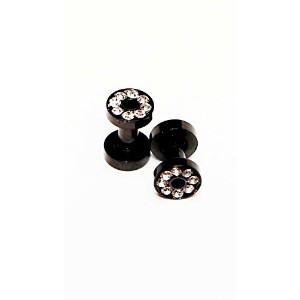 Hypoallergenic Surgical steel Black Rhodium Plated Ear Gauge With Clear Cubic Zirconia stones (3...