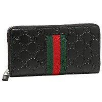 (グッチ) GUCCI グッチ 財布 GUCCI 408831 CWCLN 1060 NEW WEB GUCCI SIGNATURE ZIP AROUND WALLET メンズ 長財布 NERO...