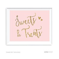 Andaz Press Blush Pink Gold Glitter Print Wedding Collection, Party Signs, Sweets & Treats Dessert...
