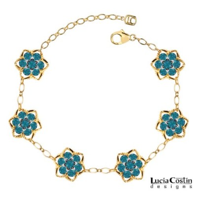 Lucia Costin Flower Bracelet Made of 14K Yellow Gold Plated over .925 Sterling Silver with...