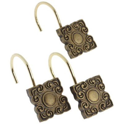 Carnation Home Fashions Bellport Ceramic Resin Shower Curtain Hook, Antique Gold by Carnation Home...