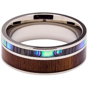 チタンリングInlaid with 100 % Natural Koa Wood and 100 % Natural Abalone Shell – 非常にユニークな – 8 mm幅 – 結婚式...