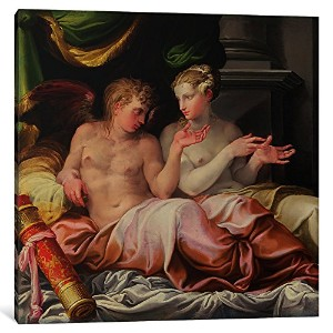 """iCanvasART 1ピースEros and Psyche、16世紀キャンバスプリントby Niccolo dell ' Abate , 12"""" x 12"""" / 1.5"""" Deep"""