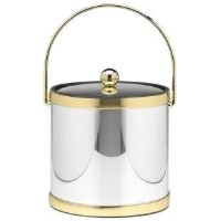 Kraftware Mylar Polished Chrome and Brass 3-Quart Ice Bucket with Brass Bale Handle, Bands and...