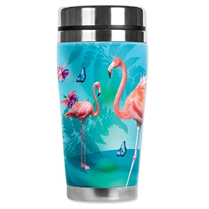 Mugzie 724-MAX Flamingo's & Butterflies Stainless Steel Travel Mug with Insulated Wetsuit Cover, 20...